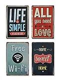 TIME HOME DEVELOPMENT Chapas Metálicas de Decoración Vintage con Frases Originales con Relieve 20x30cm (Frases)