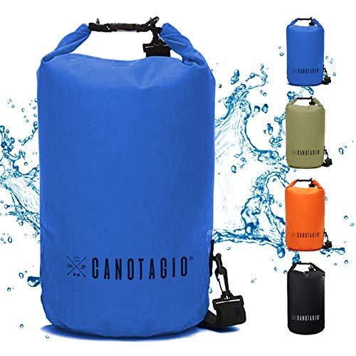 Canotagio Bolsa Impermeable/Mochila a Prueba de Agua para Senderismo y Deportes Acuaticos. Dry Bag Disponible en 5, 10, 20 y 30 litros de Capacidad. Waterproof Bag Backpack (Azul Marino, 5 LTS)