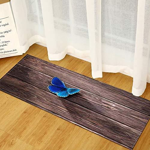 OPLJ Anti-Rutsch-Holzmuster Teppich Küchenmatte Schlafzimmer Wohnzimmer Teppich Eingang Fußmatte Flur Badezimmer Bodenmatte A17 50x80cm
