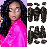 Beauty Forever Hair Brazilian Virgin Hair Loose Wave Weft 3bundles 100% Unprocessed Human Virgin Remy Hair Extensions Natural Color 95-100g/pc (16 18 20)