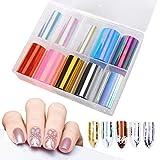 10 Rollos Foil para Uñas Transfer, Holográfico Nail Stickers Tips Wraps Sticker Glitters Kit para Manicuras Diseños DIY Uñas (Pattern A)