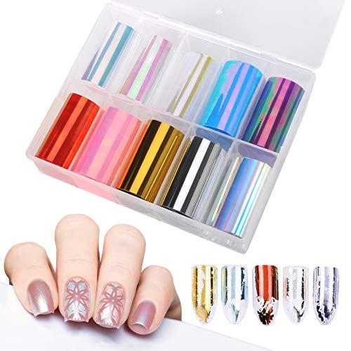 10 Rotoli Nail Foil Adesivi Unghie Trasferimento FoilNail Art per unghie per Decorazioni (Pattern A)