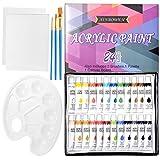 ZITFRI 24 Couleurs Tubes de Peinture Acrylique en Tube 12ml avec 3 Pinceau de Peinture 1 Palette de Couleur 2 Planches à Dessin pour Débutant Amateur