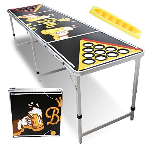 Hengda Beer Pong Tisch mit LED Beleuchtung & Becherlöcher Design Klappbarer Leichter Bier Pong Table mit 6 gratis Bier-Pong Bällen für Sommer,Festivals,Parties & Turniere