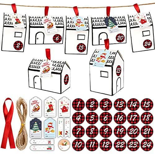 luminiu Adventskalender om te vullen, 24 kartonnen doosjes, kerstversiering + gekleurd touw, voor bruiloften, Kerstmis…