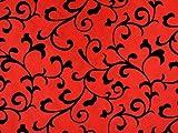 ab 1m: Taft beflockt mit Ranken, rot, ca.145cm breit