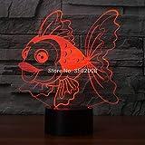 DFDLNL Carpa Dorada 3D Forma luz Nocturna 7 Colores cambiantes lámpara led como Regalo para niños o decoración de la habitación