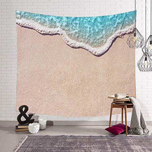 AdoDecor Hermoso Paisaje Tapiz Playa océano Azul Naturaleza Tapiz de Pared decoración Sala de Estar Dormitorio montado 150x200cm/59 * 79pulgadas