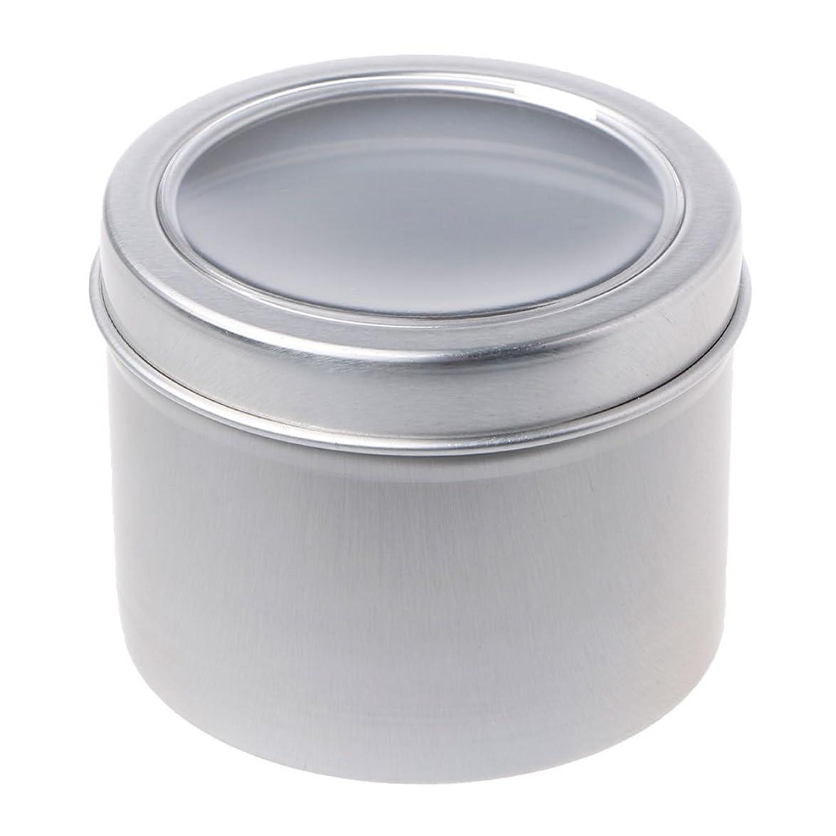 ディスパッチ前投薬調和SimpleLife 60mlラウンドスティンケースコンテナ、蓋が空のクリアウィンドウスイング、蓋付き、スモールガジェット、DIYリップバーム - スパイスケース、アルミ容器ボックス/ミニポケットサイズの缶