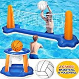 Tidystore Kit flotteur de piscine gonflable avec filet de volley-ball flottant avec panier de basket gonflable et filet réglable et 2 ballons de volleyball 115 x 38 x 30 cm