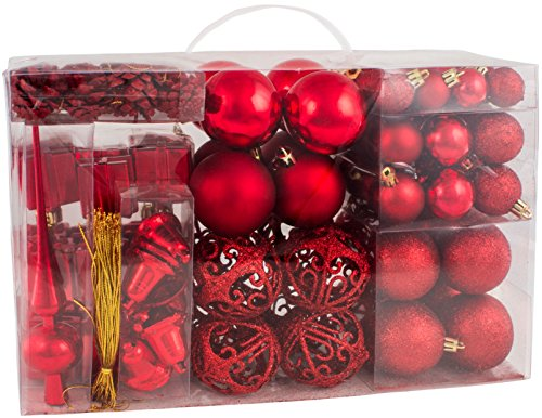 BRUBAKER 101 Pack Assorted Christmas Ball Ornaments - Shatterproof - with Green Pickle and Tree Topper - Designed in Germany - Red