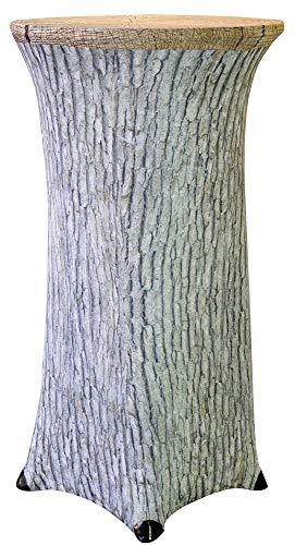 Trendyshop365 Stretch Stehtisch-Husse für Bistrotisch Baumstamm Design Eiche - Durchmesser 60 bis 70 cm Höhe 120cm Stretchhusse als Tisch-Überzug