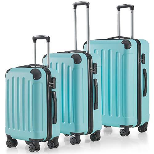 Juskys Hartschalen-Koffer Set Yara 3-teilig – 3 Trolley mit Schloss, Griff und 360° Rollen – Mint grün - Reisekoffer Hartschale leicht