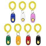 Anself - 7X Clickers con Llavero para el Entrenamiento de Perros (Color Rojo/Azul/Negro/Blanco/Naranja/Rosa/Verde)