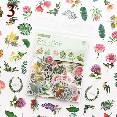 BLOUR Kawaii Cat Sticker Green Plant Dessert Dessert Dessert Decoratie Plakfolie Sticker Scrapbooking dagboek DIY Album Briefpapier Sticker 100 stuks/tas