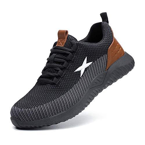 Zapatos de Seguridad para Hombres Zapatos de Acero con Punta de Seguridad,Zapatillas Deportivas Ligeras e Industriales Transpirables, 703 Brown 39