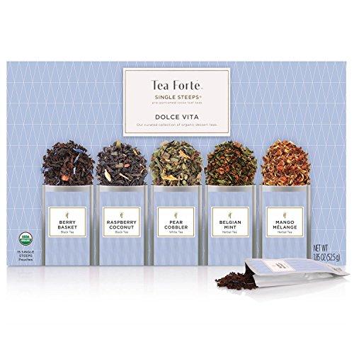 Tea Forte Essential Dolce Vita | Surtido Caja de Té 15 Bolsas de Dosis | 5 variedades | Cesta de Frambuesas, Coco de Frambuesa, Pastel de Pera, Mezcla Belga de Menta y Mango |