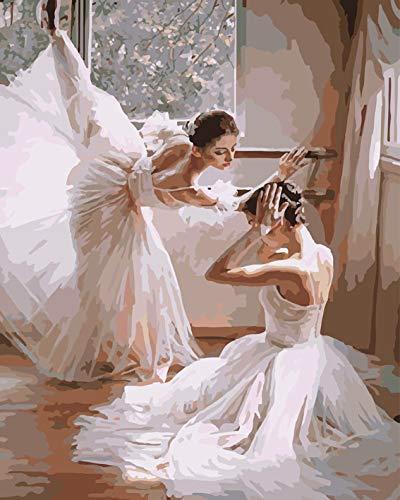 WISKALON Pintar por Numeros para Adultos Niños Pintura por Números con Pinceles y Pinturas Decoraciones para el Hogar Bailarines de Ballet (16 * 20 Pulgadas, Sin Marco)