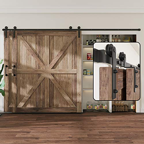 WINSOON 12FT Single Track Bypass Sliding Barn Door Hardware Kit for Double Doors, Low Ceiling, Easy Mount, Heavy Duty, Slide Quietly and Smoothly