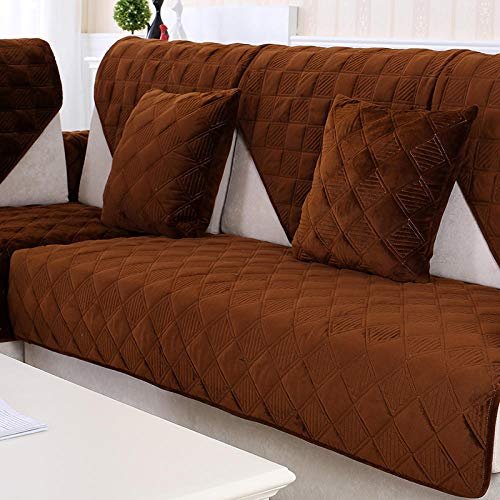 Ginsenget Funda de sofá,Manta niños y Mascotas,Funda de sofá,Sofá Protector,Toalla con Funda Antideslizante para sofá,café Oscuro,90X270cm