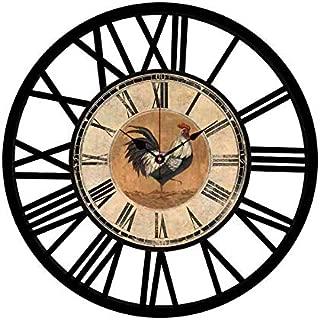EnjoyHome Farmhouse Wall Clock European Retro Metal Clock 16 Inches Iron Roman Numeral Clock Quartz Movement 16 Inches