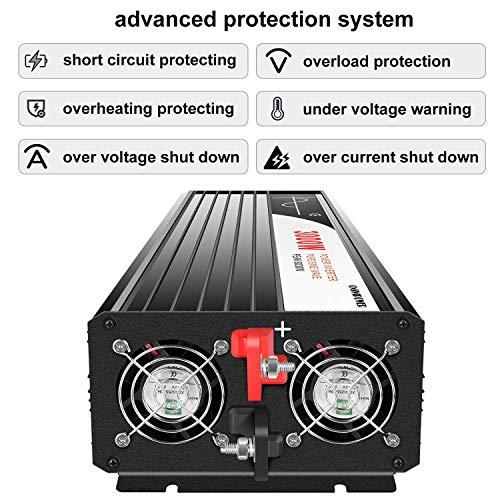 XIJIA 3000W (Peak 6000W) Pure Sine Wave Power Inverter DC 12V to AC 120V 60HZ Solar Converter for Home Use car Remote Control (DC12V (Range 10V-15V) 3000W)