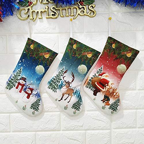 MKWEY Calza di Natale Decorazioni Natalizie, Set da 3 Pezzi Sacchetto Regalo di Natale Babbo Natale Pupazzo di Neve Alce Sacchetto di Caramelle, Camino Calza di Natale con Gancio in Metallo, 26cm