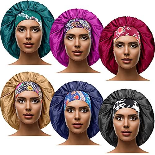 6 Pieces Large Satin Silk Bonnet Satin Sleeping Cap 2.36 Inch Elastic Wide Band Hat Adjustable Night Sleeping Hair Bonnet for Women Girls, 16.5 Inch in Diameter (National Patterns)