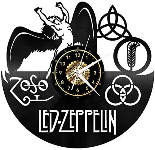 RUIXINBC Reloj De Pared Creativo 3D Vinilo, Vinilo Silenciosa del Reloj De Pared del Reloj Zeppelin Regalo De La Vendimia del Dormitorio Regalos De Decoración