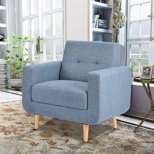 Accent Chairs, Upholstered Fabric Accent Chair Modern Armrest Lounge Chair Single Chair with Wood Legs for Living Room (Blue)