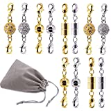 Swpeet 12Pcs Magnetic Lobster Clasps Kit, Including 4 Pieces Rhinestone Ball Magnetic Clasps, 4 Pieces Ball Magnetic Clasps and 4 Pieces Cuboids Magnetic Clasps Perfect for Jewelry Necklace Bracelet