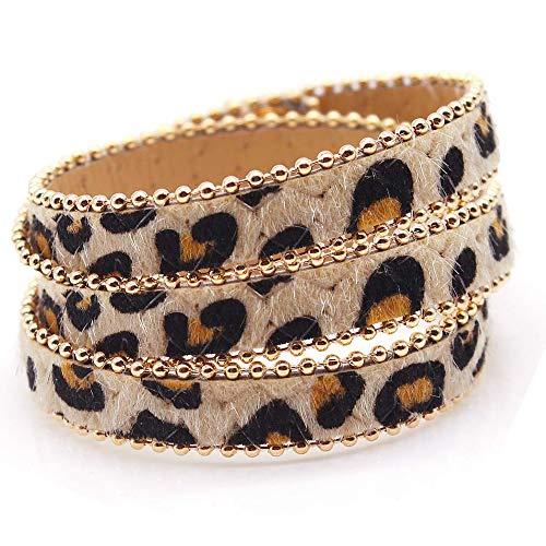 ETHOON Luipaard Armband Multi-Layer Paard Haar Armband Mode Lange Verlengde Armband voor Vrouw Meisjes