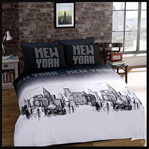 AdamLinens Duvet Cover Bed Set Pillowcases (Newyork, Single)