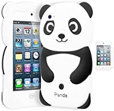 iPod Touch 4 Case, Bastex 3D Silicone Black & White Panda Bear Case for Apple iPod Touch 4INCLUDES Screen Protector