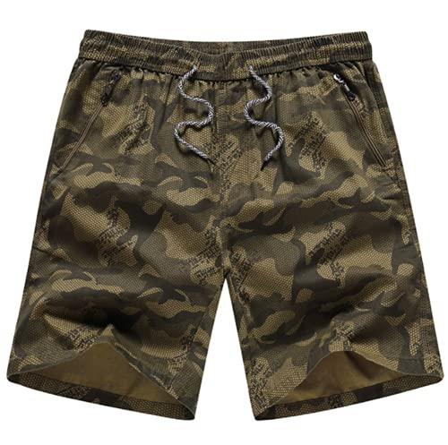 HFRTKLSAW Pantalones Cortos para Correr de Secado rápido para Hombres, Pantalones Cortos Casuales de Camuflaje Ligeros y Sueltos con Bolsillos con Cremallera y Cinturilla elástica con cordón,B,XL