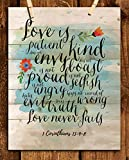 """""""Love is Patient-Kind-Never Fails""""- 1 Corinthians 13: 4-8. Bible Verse Wall Art- 8x10' Modern Floral-Rustic Design. Scripture Wall Print-Ready to Frame. Home-Office-Church Décor. Great Christian Gift!"""