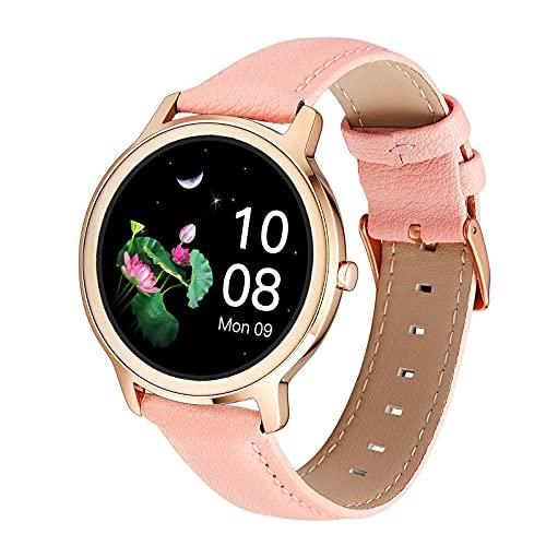 QFSLR Smartwatch Reloj Inteligente con Monitor De Frecuencia Cardíaca Monitor De Presión Arterial Monitoreo De Oxígeno En Sangre Monitor De Sueño,Rosado