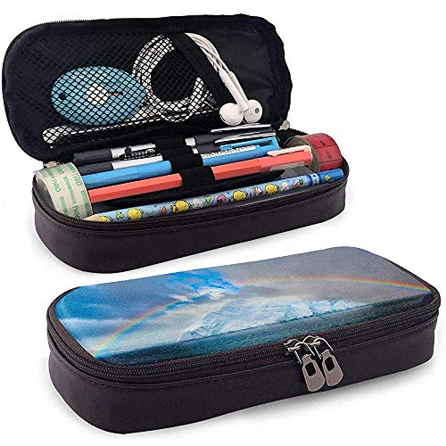 PU-Leder Federmäppchen mit Reißverschluss, Regenbogen Eisberg große Kapazität Lagerung Marker Fall Stifthalter, Kosmetik Make-up Tasche