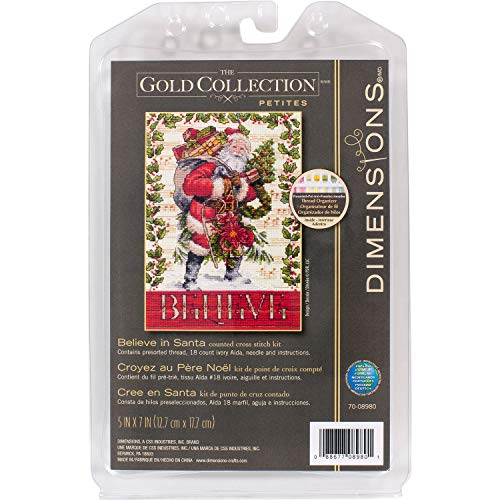 Dimensions Gold Collection Kit, Believe in Santa Christmas Cross Stitch, 18 Count Ivory Aida, 5'' x 7''