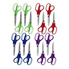 SKKSTATIONERY 8.5 Inch Scissors 16Pcs, Stainless Steel Sharp Blade, Comfort-Grip Handles, Pack of 16