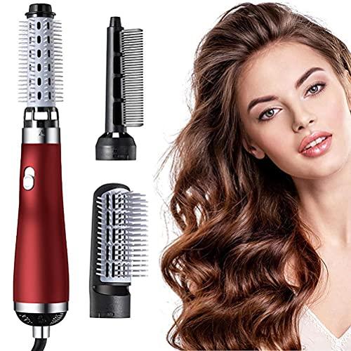 Cepillo para el pelo, 750 W, cepillo de aire caliente 3 en 1, secador de pelo portátil, rizador con 3 cabezales de peine