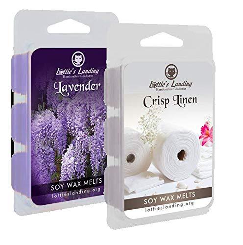 2 Pack Soy Wax Melts - Lavender and Crisp Linen by Lottie's Landing 12 Pcs Cubed 100% Soy Wax