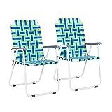 VINGLI Patio Folding Web Lawn Chair Set, 2 Pack Outdoor Beach Chair Portable...