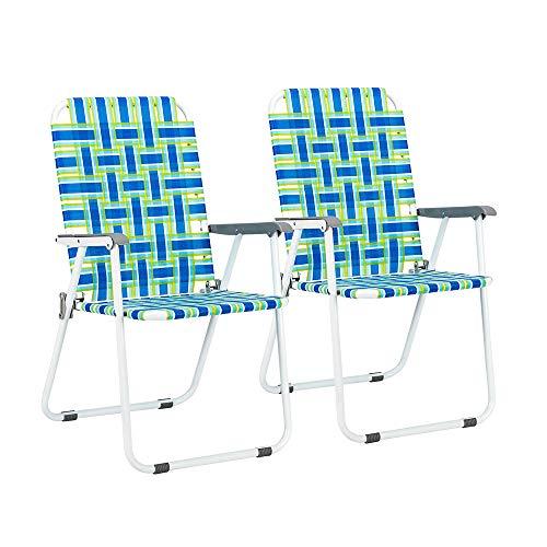VINGLI Patio Folding Web Lawn Chair Set