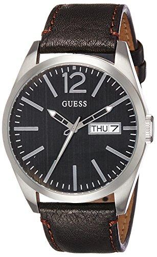 Guess Herren Analog Quarz Uhr mit Leder Armband W0658G3