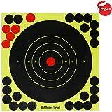 8 pulgadas de tiro apunta a papel adhesivo, reactivo amarillo brillante salpicaduras Bullseye Target Stickers para rifle, pistola, pistola BB, Airsoft, pistola de pellets