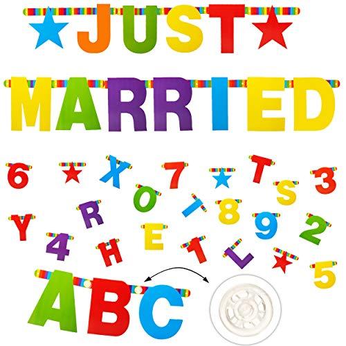alles-meine.de GmbH XXL - JUST Married - 168 Stück - Buchstaben & Zahlen - Girlande / Wimpel - individuell selbst gestalten - Alphabet A-Z + Zahl 0 bis 9 - bunt - Geburtstag - Pa..