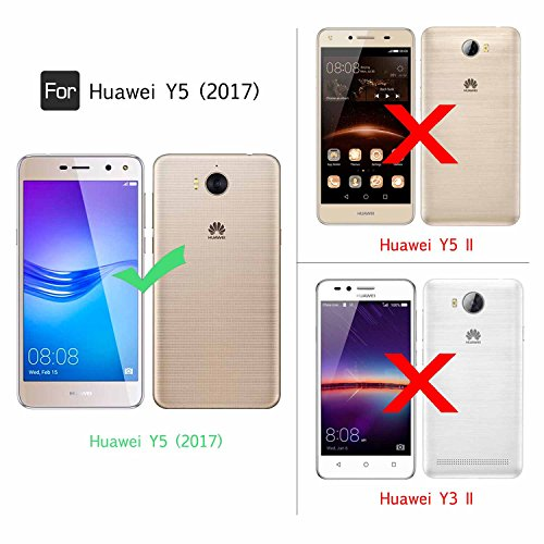 LeYi Hülle Huawei Y6 2017 / Y5 2017 / Y5 II 2017 / Y5 Pro Glitzer Handyhülle mit HD Folie Schutzfolie,Cover Bumper Silikon Treibsand Clear Schutzhülle für Case Huawei Y6 2017 Handy Hüllen ZX Rosegold - 2