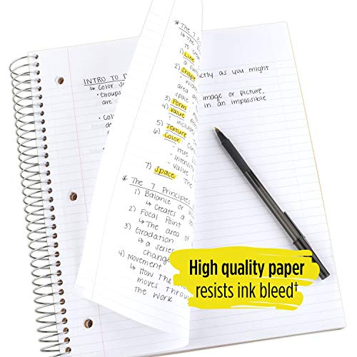 """Five Star Spiral College Ruled Notebook, 5 Subject, Wired Note Book with Pockets, 200 Lined Sheets, Writing Journal, Home School Supplies for College Students or K-12, 11"""" x 8-1/2"""", Black (72081) Photo #6"""