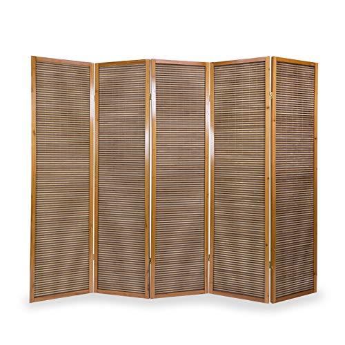 Homestyle4u 383, Paravent Raumteiler 5 teilig, Holz Bambus, Braun